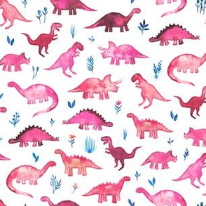 Tiny Dinos in Magenta and Coral on White Small Print