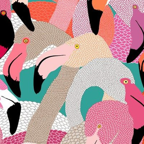 Flamingoes in Orange and Pink - LARGE