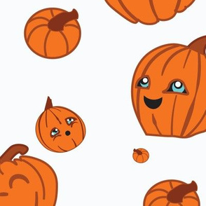 Kawaii Pumpkins on White Background