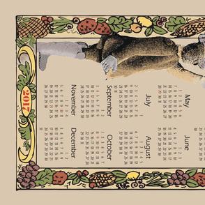 Vintage Styled Cactus Mouse Calendar Dishtowel