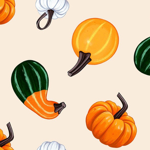 Gourdgeous Pumpkins and Gourds Autumn Fall Print