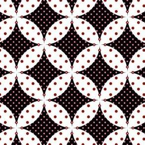 Overlapped Circles - White on Black w Pink