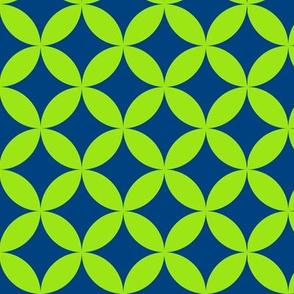 Mod Circles Green on Blue