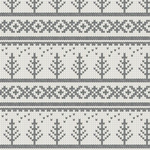 fair isle tree in soft grey || winter knits