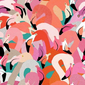 Flamingoes in Orange and Pink - SMALL