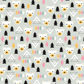 Geometric winter polar bears christmas kids illustration print SMALL