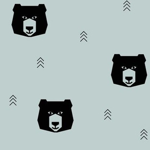 Bears - black on seafoam blue, geo bear || by sunny afternoon