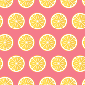 Lemons on pink background
