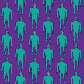 Zombies - Teal on Purple