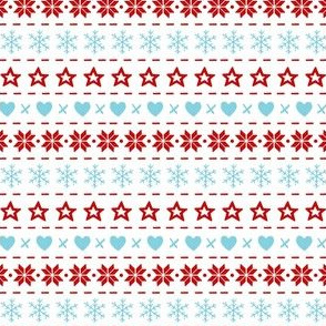 Christmas With Love hearts, snowflakes and stars