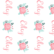 love florals, love, text, words fabric, flowers, peonies, florals, blossoms, blooms, painted flowers