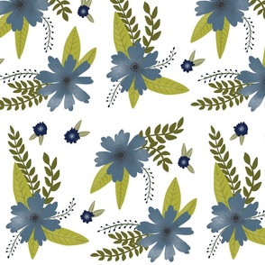 Blue Flowers - Larger Scale