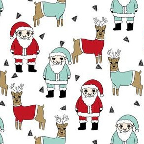 santa and reindeer // christmas fabric cute hand-drawn mint and red illustration kids christmas fabric cute xmas holiday fabrics