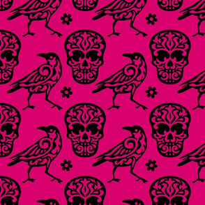 Skull Raven Damask in Hot Pink