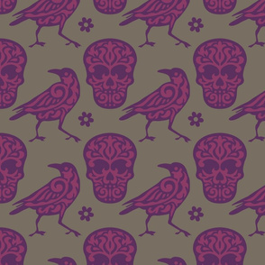 Skull Raven in Purple, Pink, and Gray