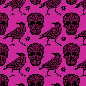 Skull Raven in Pink