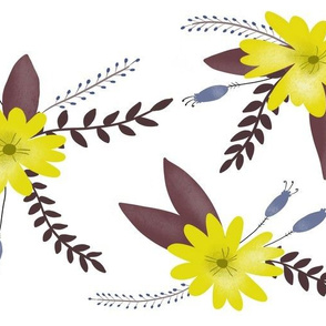 Yellow Flowers with Purple Leaves - Larger Scale