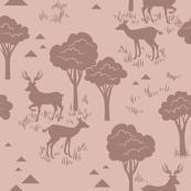 Tonal Baby Deer Trees_Rose