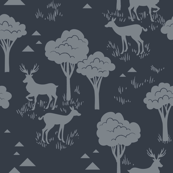 Tonal Baby Deer Trees_ Grey