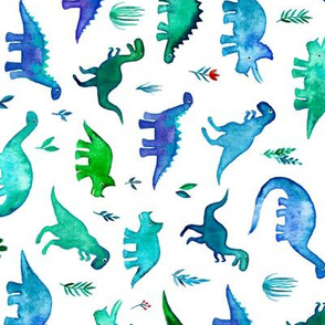 Tiny Dinos in Blue and Green on White Large Print Horizontal