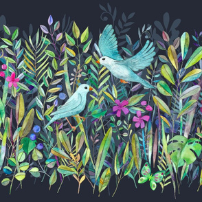 Little Garden Birds stripe format large