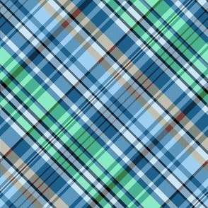 Mainly Blue and Green Madras Plaid Larger Scale