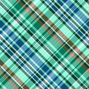 Mainly Mint Green and Blue Madras Plaid Larger Scale
