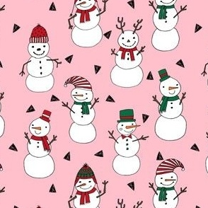 snowman // snowman pink christmas fabric cute hand-drawn andrea lauren illustration featuring christmas snowmen in hats cute snowman design