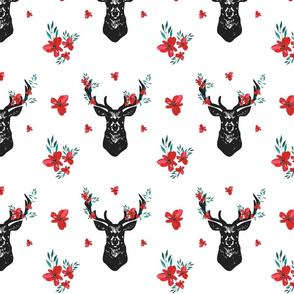 Christmas Deer Celebration with Red Florals