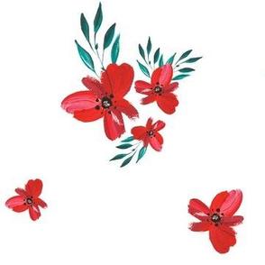 Celebration Deer - Red Florals
