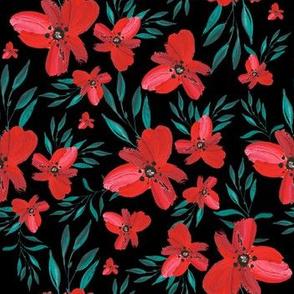 Celebration Deer Seamless Red Florals - Black
