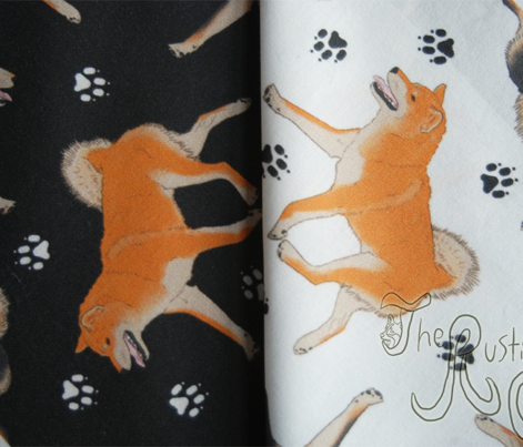 Trotting Shiba Inu and paw prints - black