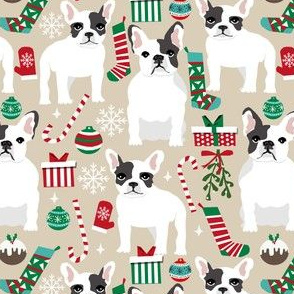 french bulldogs christmas fabric cute frenchie dog dogs xmas fabrics cute french bulldogs fabric