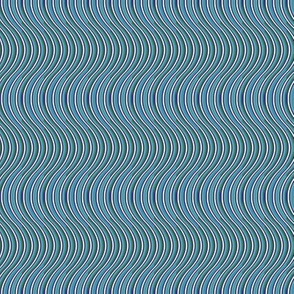 Swirly, curvy ocean waves, in blues and greens