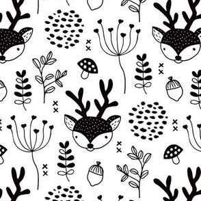 Winter woodland reindeer scandinavian forest cute deer christmas theme black and white