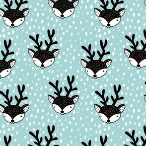 Winter woodland reindeer snow wonderland cute deer christmas theme ice blue
