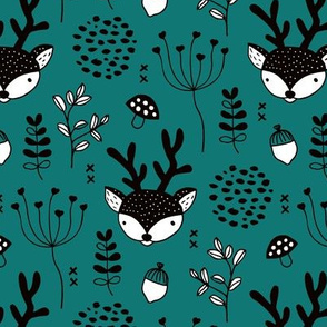 Winter woodland reindeer forest cute deer christmas theme teal