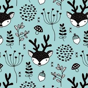 Winter woodland reindeer forest cute deer christmas theme blue