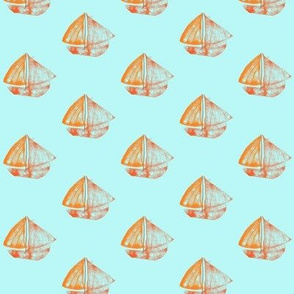 Toy Sailing Boats on Summery Blue