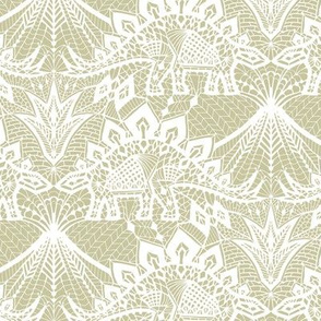 Stegosaurus lace - White / Gold