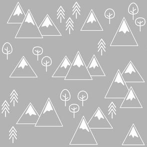 PNW - Mountains & Trees White on Light Gray