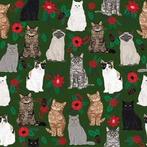 cats christmas florals mistletoe