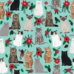 Christmas Cats fabric xmas holiday mistletoe and holly