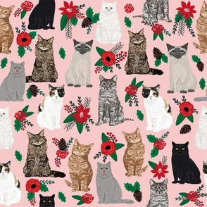 Cat Christmas florals mistletoe pink cat lady fabric for xmas