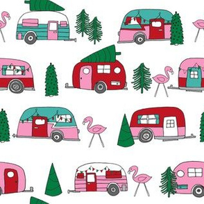 christmas camper // vintage flamingo cute retro christmas fabric andrea lauren fabric pink christmas fabric