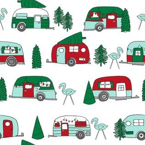 christmas camper // red and green christmas retro caravans cute campers flamingos camper andrea lauren fabric andrea lauren design