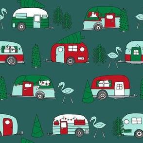 christmas camper // cute camping caravan retro flamingo cute holiday xmas design by andrea lauren christmas