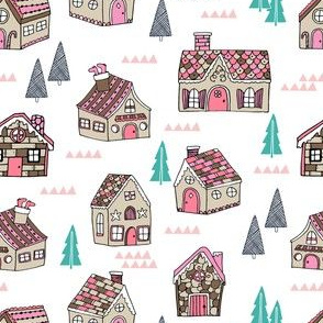 gingerbread houses // cute pink pastel christmas fabrics featuring gingerbread houses best xmas holiday cute gingerbread design for sewing clothes cute christmas fabrics