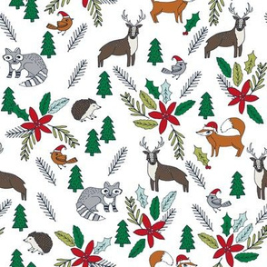 christmas woodland // forest trees woodland xmas christmas fabrics cute woodland poinsettia christmas florals