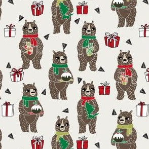 christmas bear // cute christmas xmas holiday fabric cute christmas presents red and green design by andrea lauren
